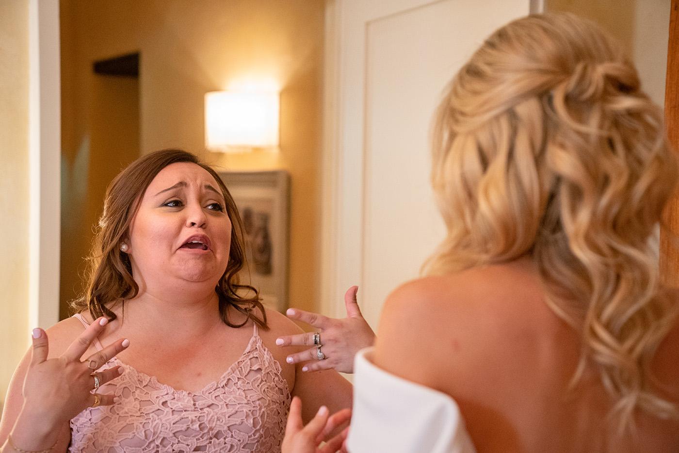 Tuscan Wedding Photo Shoots At Palagio Castle: bridesmade look at the bride
