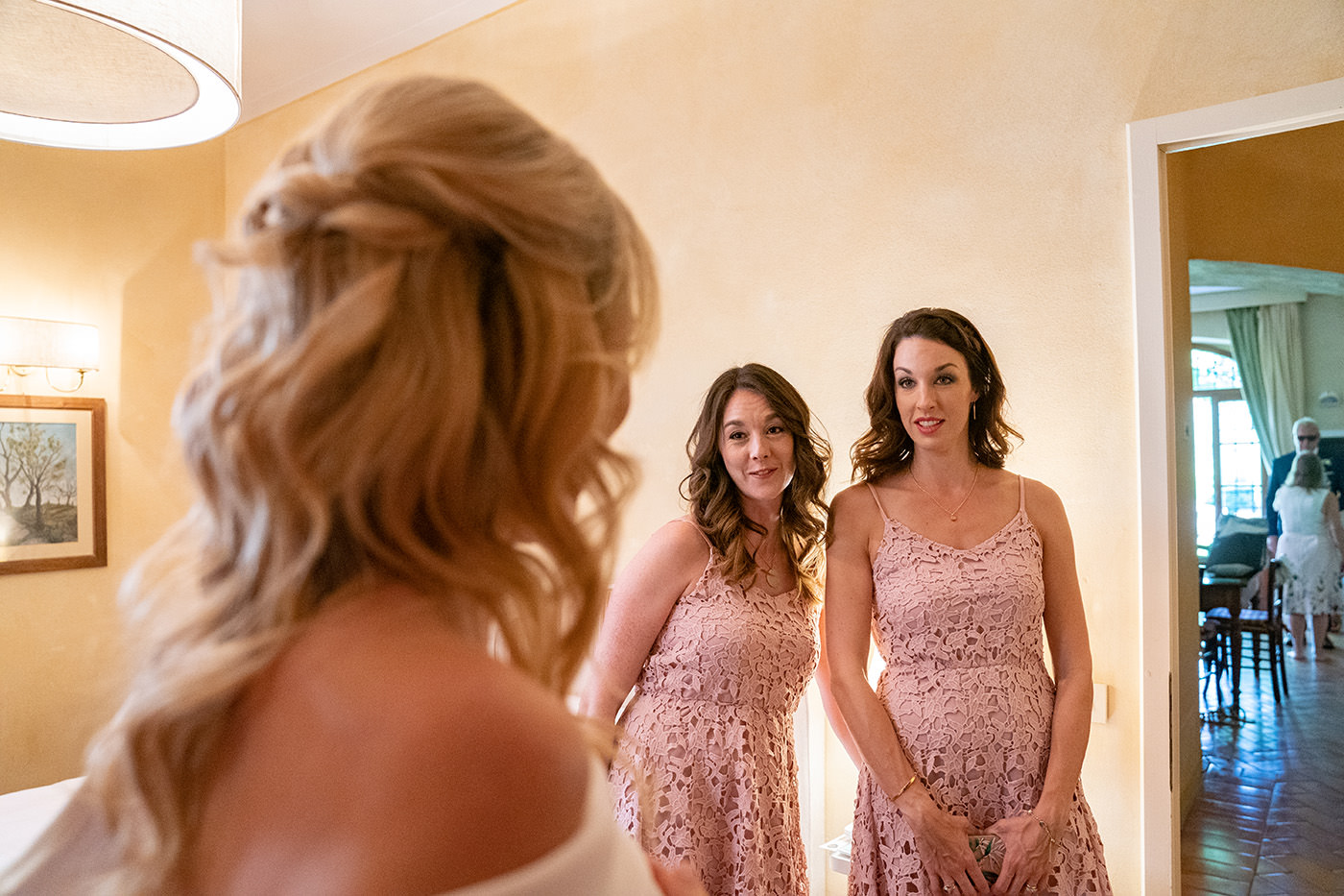 Tuscan Wedding Photo Shoots At Palagio Castle: bridesmades look at the bride