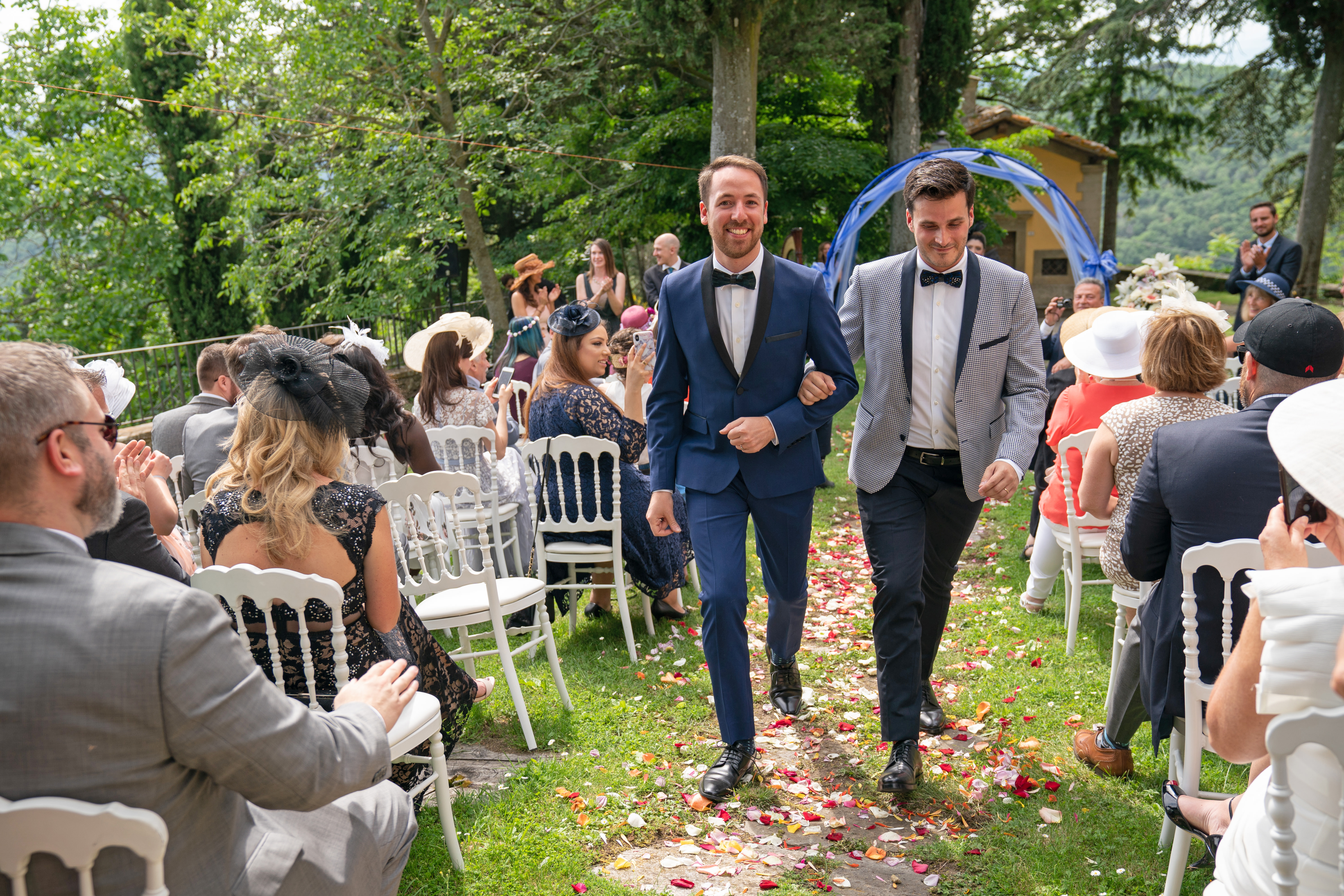 Same-Sex Wedding Photographer Florence: Timur & Guillaume. Couple move together after the ceremony