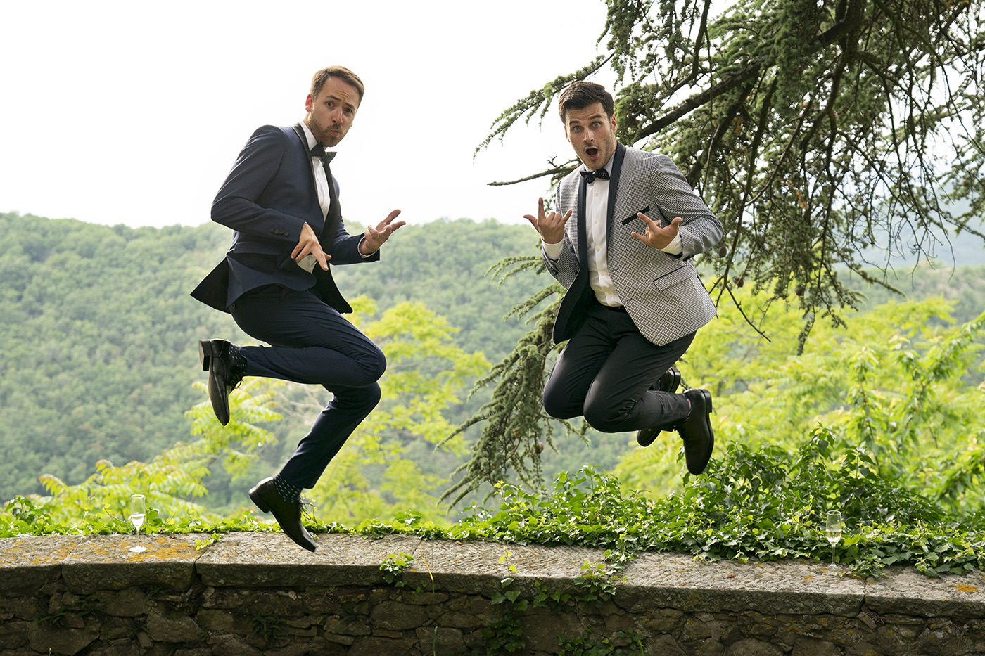 Same-Sex Wedding Photographer Florence: Timur & Guillaume. Couple jump together!